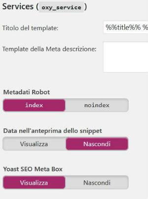 Yoast SEO pannello Titoli & Metadati / Tipi articolo / Pagine