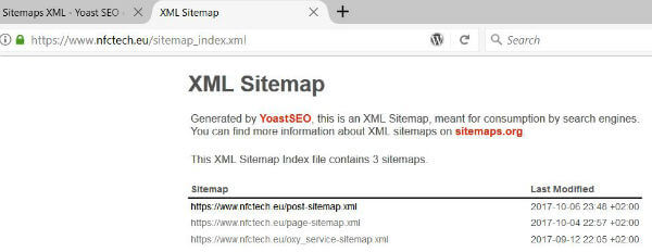 Yoast SEO esempio di Sitemap
