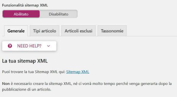Yoast SEO pannello Sitemaps XML / Generale