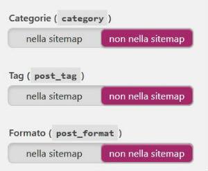 Yoast SEO pannello Sitemaps XML / Tassonomie