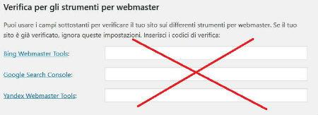 Yoast SEO pannello bacheca / strumenti per Webmaster