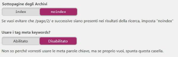 Yoast SEO pannello Titoli & Metadati / Archivi