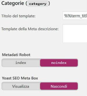 Yoast SEO pannello Titoli & Metadati / Tassonomie / Categorie