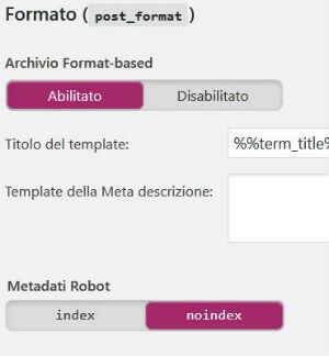 Yoast SEO pannello Titoli & Metadati / Tassonomie / Formato