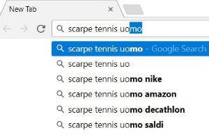 Esempio di elenco a discesa delle ricerche di Google