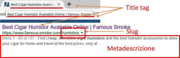 Title tag, slug e metadescrizione nello snippet dei risultati di ricerca di Google