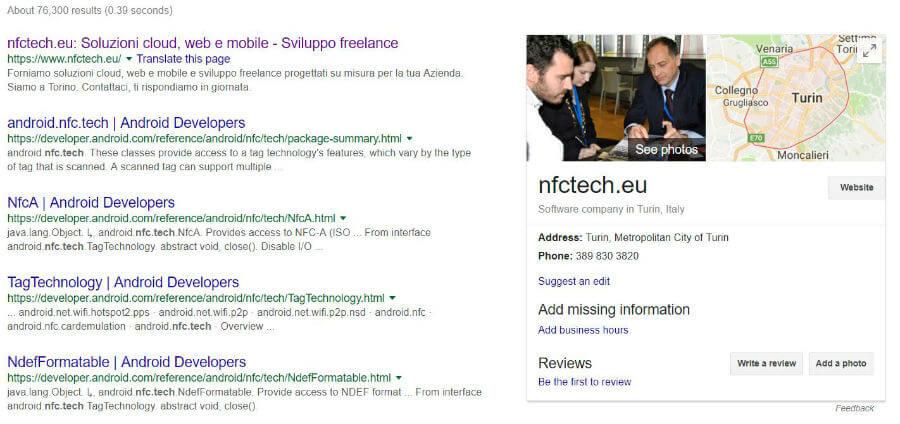 Snippet di Google Places nei risultati di ricerca di Google Search