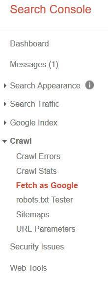 Voce di menu Fetch as Google