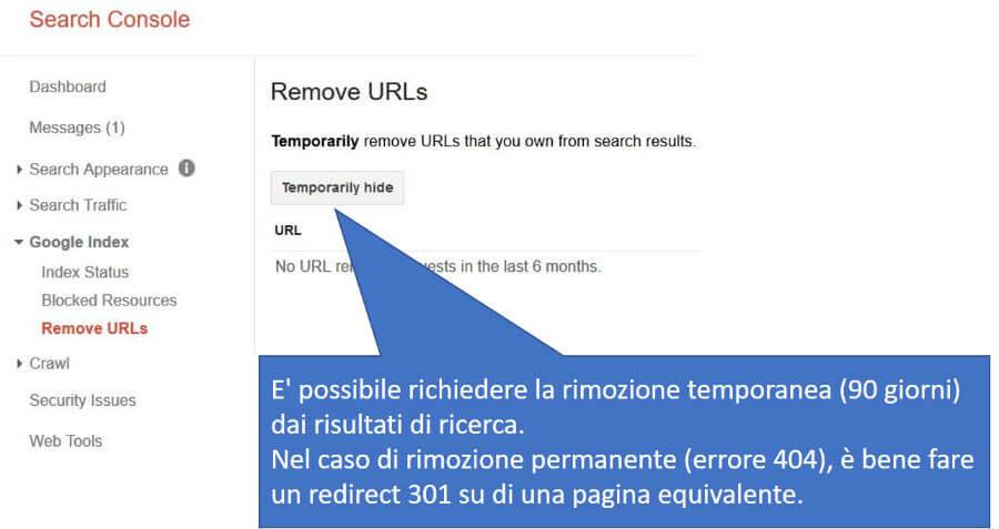 Pannello per escludere temporaneamente URL specifici dai risultati di ricerca