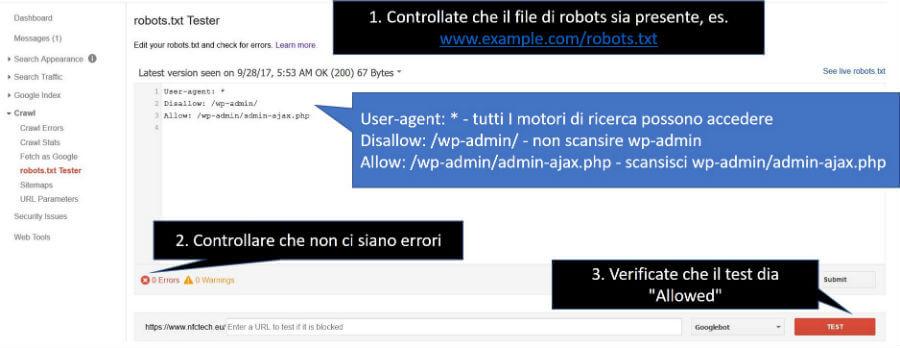 Pannello per la visualizzazione e il test del file robots.txt