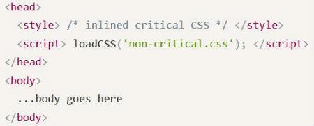 Struttura HTML per ``critical`` e ``non critical`` CSS