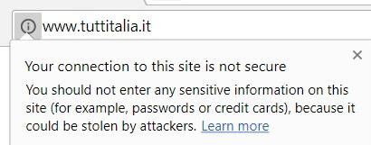 Alert di connessione non sicura - Chrome