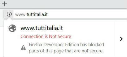Alert di connessione non sicura - Firefox